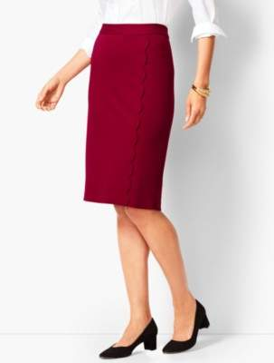 Talbots Ponte Scallop Wrap Pencil Skirt
