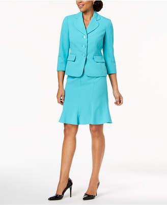 Le Suit Three-Button Crepe Skirt Suit, Regular & Petite