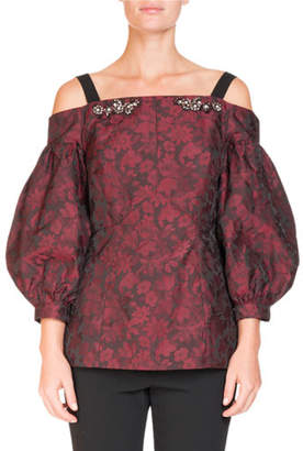 Erdem Off-the-Shoulder Bishop-Sleeve Floral-Jacquard Top with Jeweled Trim