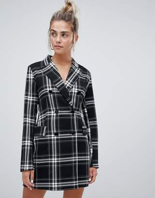 Bershka check print blazer dress in multi