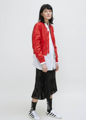 Off-White red white baggy leather bomber $2,033 thestylecure.com