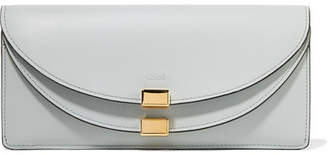 Chloé Georgia Textured-leather Continental Wallet - Light blue