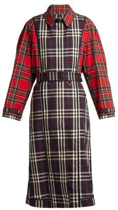 Burberry Two Tone Tartan Cotton Trench Coat - Womens - Blue Multi