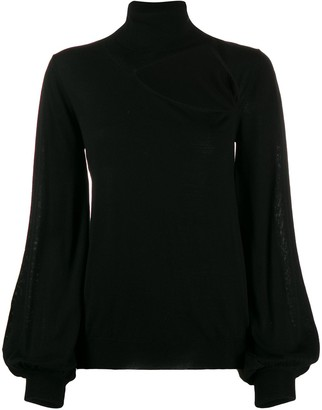 P.A.R.O.S.H. roll neck cut-out front sweater