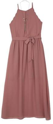 Amy Byer Georgette Scalloped Long Dress with Necklace (Big Girls)