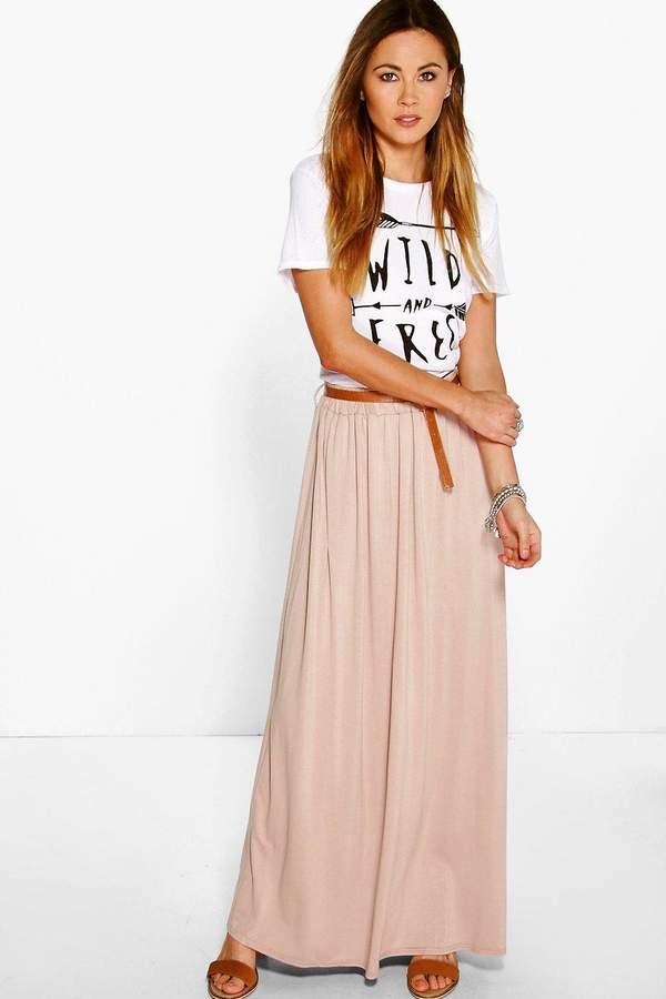 boohoo Vivian Jersey Belted Maxi Skirt