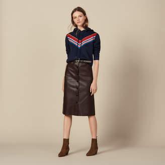 Sandro Midi Leather Skirt