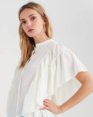 7 For All Mankind Butterfly Sleeve Top in Ivory