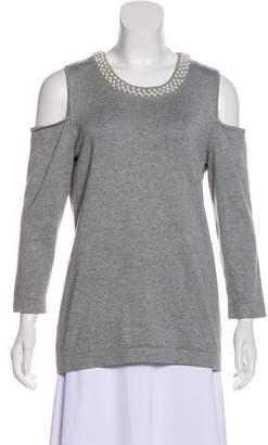 Karl Lagerfeld Embellished Cold Shoulder Sweater