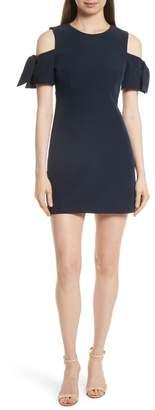 Milly Italian Cady Mod Tie Cold Shoulder Minidress