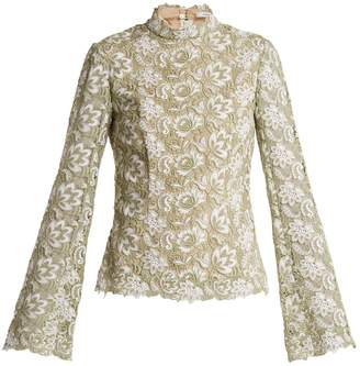 Erdem Sharon high-neck floral guipure-lace top