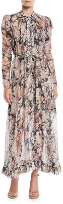 Zimmermann Tempest Frolic High-Neck Floral Silk Maxi Dress