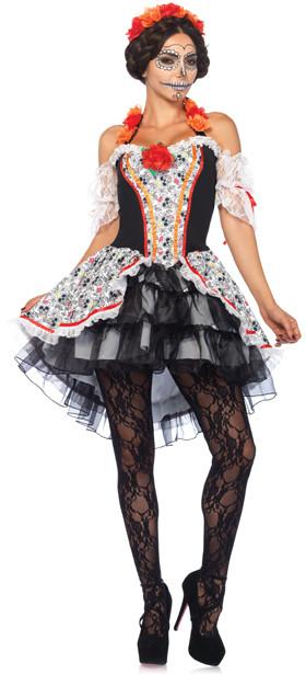 Black & Red Sugar Skull Señorita Costume Set - Women & Plus
