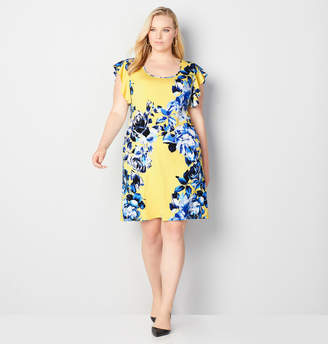 Avenue Flutter Sleeve Floral Sheath Dress