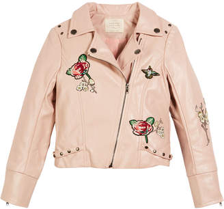 Hannah Banana Faux-Leather Biker Jacket w/ Patches, Size 4-6X
