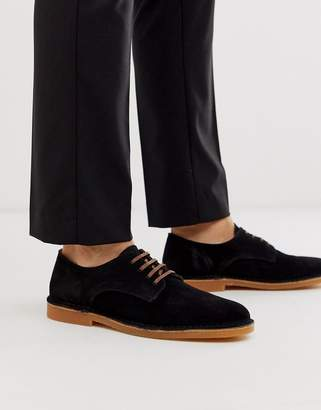 Selected suede shoes in black