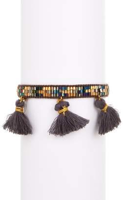 Zacasha Multi Color Beaded & Charcoal Tassel Bracelet