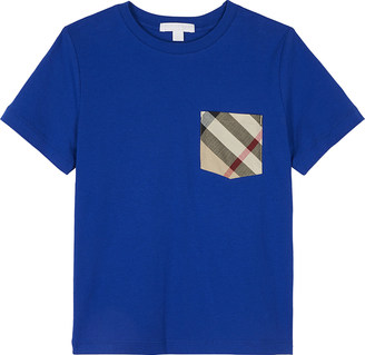 Burberry Checked pocket cotton t-shirt 4-14 years $63 thestylecure.com