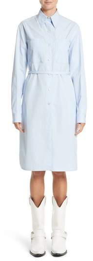 CALVIN KLEIN 205W39NYC Lace-Up Back Cotton Poplin Dress