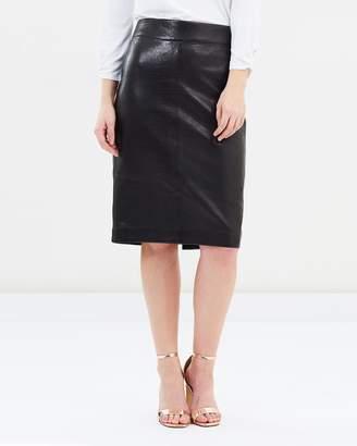 David Lawrence Bella Leather Pencil Skirt
