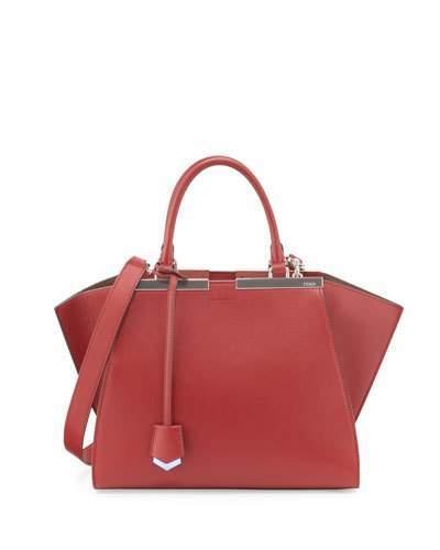FendiFendi 3Jours Medium Leather Satchel Bag, Red