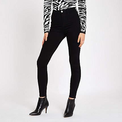 Womens Black Kaia high waisted skinny disco jeans