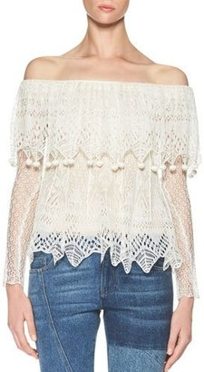 Alexander McQueen Fisherman-Lace Off-the-Shoulder Top, Ivory $2,045 thestylecure.com