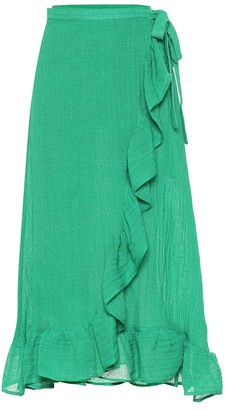 Lisa Marie Fernandez Ruffled linen-blend gauze wrap skirt