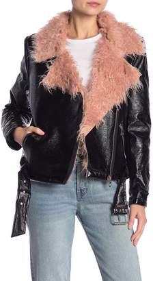 Bagatelle Faux Leather & Faux Fur Moto Jacket