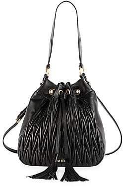 Miu Miu Women's Matelassé Leather Double Strap Bucket Bag
