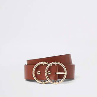 River Island Tan textured double ring buckle jeans belt