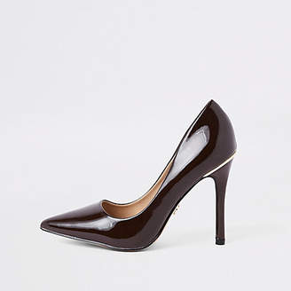 River Island Dark brown espresso patent pumps