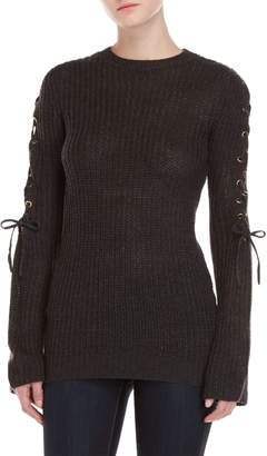 Alison Andrews Lace-Up Sleeve Sweater