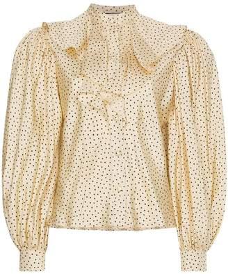 Gucci Silk polka dot ruffle puff sleeve blouse