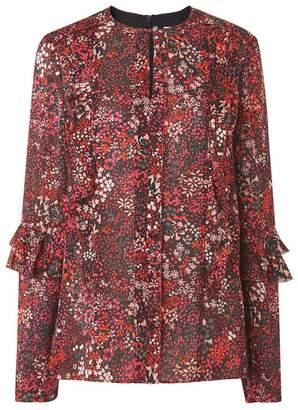 LK Bennett Robin Blue Floral Silk Woven Top