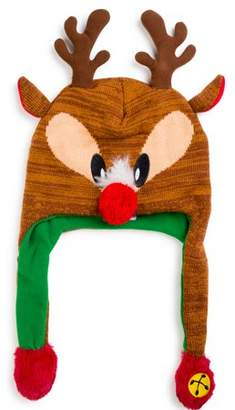 ABG Accessories Ugly Christmas Reindeer 'Squeez and Flap' Fun Cold Weather Laplander Hat, Little Girls, Age 4-7