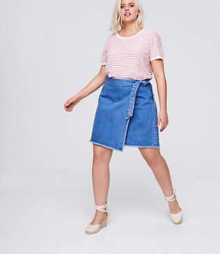 LOFT Plus Frayed Denim Wrap Skirt