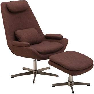 Mid-Century MODERN Hanover Westin Scoop Lounge Chair and Ottoman in Chocolate Brown