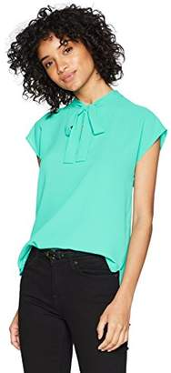 Nine West Women's Solid Crepe Blouse with Tie Front