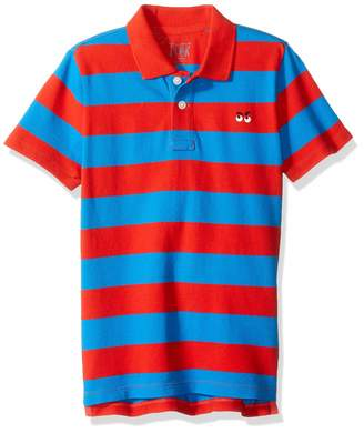 Look By Crewcuts LOOK by crewcuts Boys' Short Sleeve Polo Rugby Stripe/Navy Medium (8) US