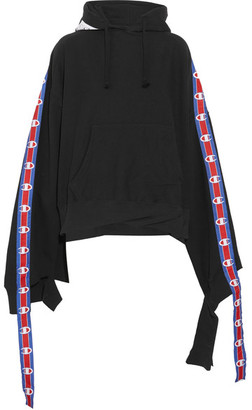 Vetements - + Champion Cotton-blend Jersey Hooded Top - Black $1,000 thestylecure.com