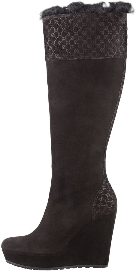 Gucci Courteney Fur Suede Wedge Boot, Black