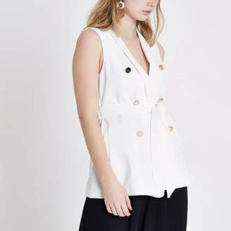 River Island Womens White sleeveless double breasted jacket