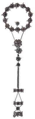 Lydia Courteille Diamond 18k gold clover leaf ring chain bracelet