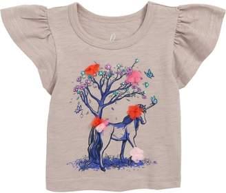 Peek Essentials Peek Flower Unicorn Flutter Sleeve T-Shirt