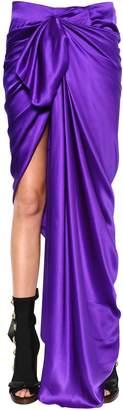 Draped & Wrapped Silk Satin Skirt