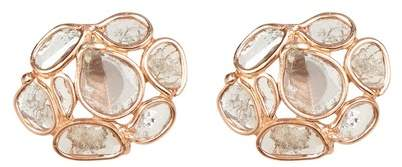 Forever Creations USA Inc. Rose Gold Vermeil Sliced Diamond Cluster Stud Earrings - 0.55 ctw