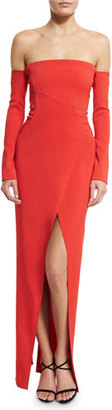 Thierry Mugler Long-Sleeve Off-the-Shoulder Column Gown, Red $4,300 thestylecure.com