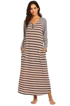 2a2fc5487c0 Ekouaer Womens Zip Front Nightgowns Hooded Dresses Contrast Nightgowns  Sleepwear (
