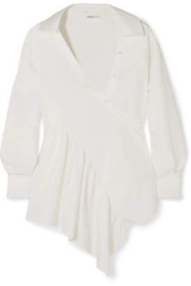 ADEAM - Asymmetric Cotton-blend Poplin Wrap Shirt - White